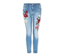 Jeans blue denim / hellgrün / rot / weiß