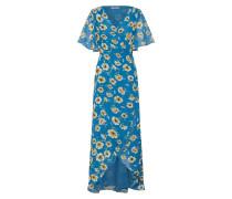 Kleid blau / goldgelb