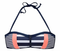 Bandeau-Top navy / apricot / weiß