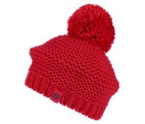 Mütze mit Bommel rot