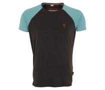 T-Shirt 'The Kumite' dunkelbraun / jade