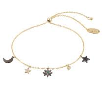 Armband 'Star & Moon Charm' gold / schwarz