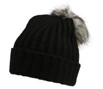 Bommelmütze 'Varen' beige / schwarz