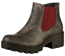 Stiefelette taupe / rubinrot