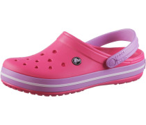 Crocband Pantoletten lila / pink / weiß