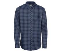 Langärmeliges Herrenhemd blau