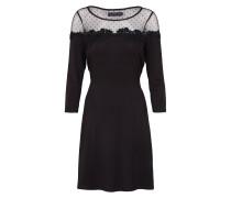 Kleid mit Mesh-Einsatz schwarz