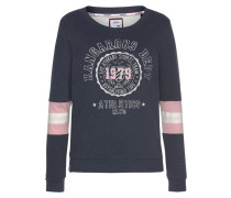 Sweatshirt taubenblau / rosa / weiß