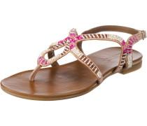 T-Steg-Sandalen braun / neonpink