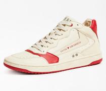 Sneaker beige / blutrot