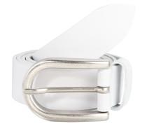 Ledergürtel mit Metallschließe weiß