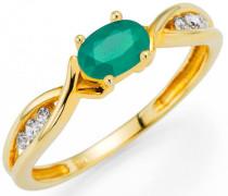 Fingerring gold / dunkelgrün / transparent
