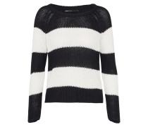 Pullover 'onlCHAMPAGNE Stripe' schwarz / weiß