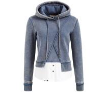 Sweatshirt 'wasame' rauchblau / weiß
