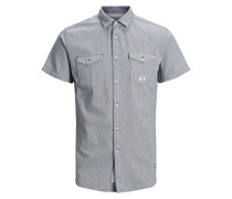 Western Kurzarmhemd taubenblau / weiß