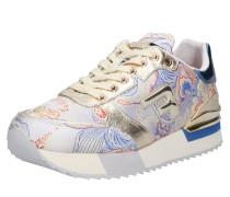 Sneaker 'wollwood' beige / blau / gold