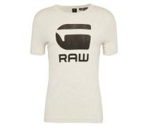 T-Shirt 'Drillon' beige / dunkelbraun