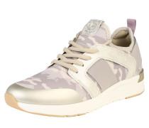 Sneaker mit Metallic-Schimmer beige
