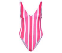 Badeanzug 'Candy Stripes' pink / weiß