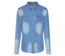Jeansbluse 'Lilien' hellblau