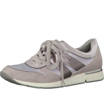 Sneaker im Materialmix taupe / lila
