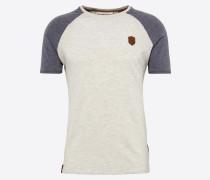 T-Shirt 'Dachrinne' taubenblau / grau