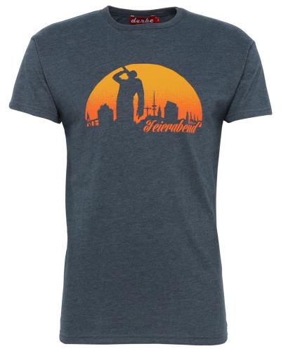 T-Shirt 'Feierabend Reloaded' navy / orange