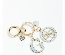 Schlüsselanhänger 'Charm' hellblau / gold