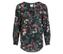 Bluse smaragd / pink / schwarz