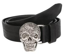 Ledergürtel 'Skull' schwarz