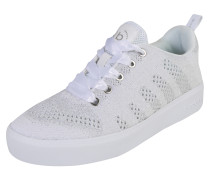 Sneaker mit Glitzereffekt silber / weiß