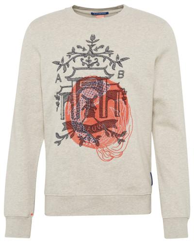 Bedruckter Pullover rot / weiß