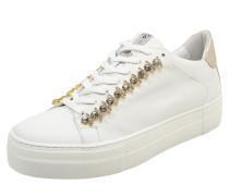 Sneaker mit Ziersteinen gold / weiß