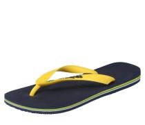 Badepantolette 'brasil' navy / gelb