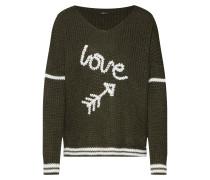 Pullover khaki / weiß