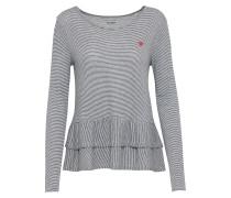 Shirt 'stripe frill' navy / offwhite