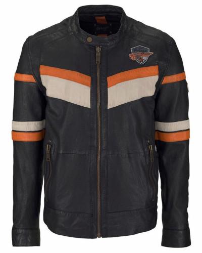 Lederjacke beige / orange / schwarz