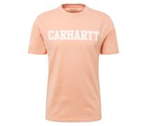 T-Shirt 'College' pfirsich / weiß