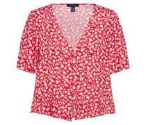 Bluse 'demmie TIE Front Shirt' rot / weiß