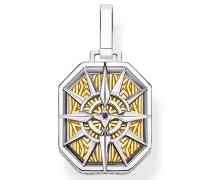 Kettenanhänger 'Kompass gold' silber