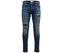 Spun Patch Slim Fit Jeans blau