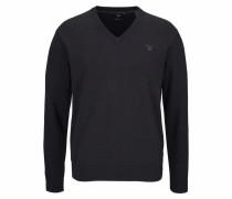 V-Ausschnitt-Pullover schwarzmeliert