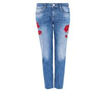 Cropped Boyfriend-Jeans mit Stickereien