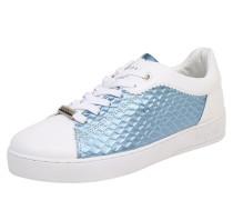 Sneaker mit Metallic-Look blau / weiß