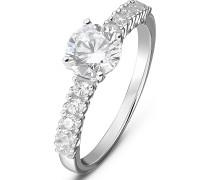 Damen-Damenring Ring aus Sterling 925er 1 Zirkonia ' '
