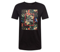 T-Shirt 'Tee Front Print' schwarz