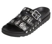 Leder Sandalen schwarz / silber
