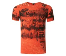 T-Shirt in Batik Optik orange