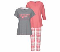 Pyjamaset (3-teilig) grau / rosa