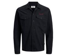 Militärstil Langarmhemd schwarz